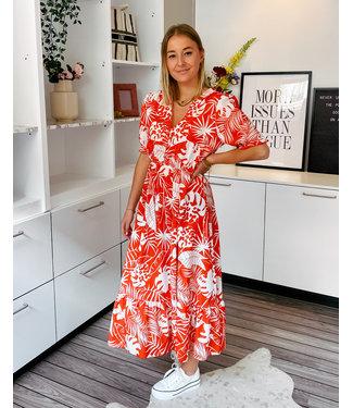 CLARA DRESS - ORANGE/RED LEAVES