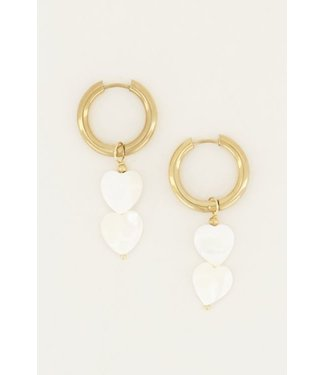 GOLD EARRING WITH WHITE HEARTS