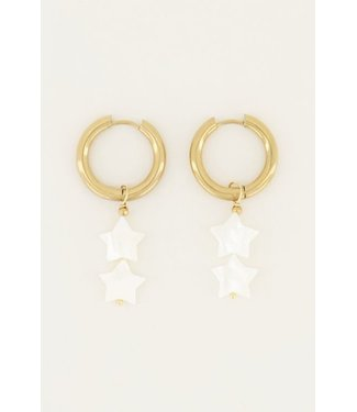 GOLD EARRING WITH WHITE STARS