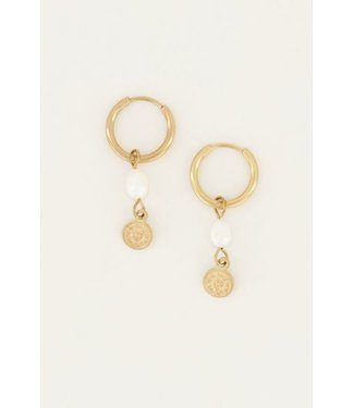 GOLD EARRING PEARL & COIN