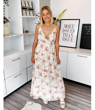 VERA MAXI DRESS - LIGHT ORANGE FLOWER PRINT
