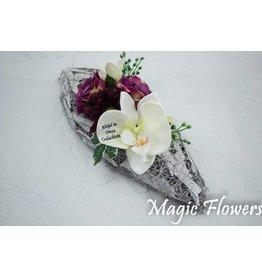 Magic Flowers Witte berkenschors schaal met bedrukte bloem