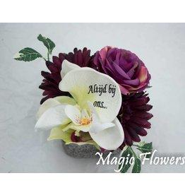 Magic Flowers Lichtgrijs stenen potje met bedrukte bloem Mod 009