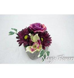 Magic Flowers Lichtgrijs stenen potje