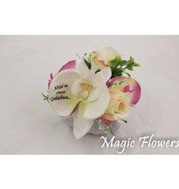 Magic Flowers klein stenen hartje met bedrukte bloem