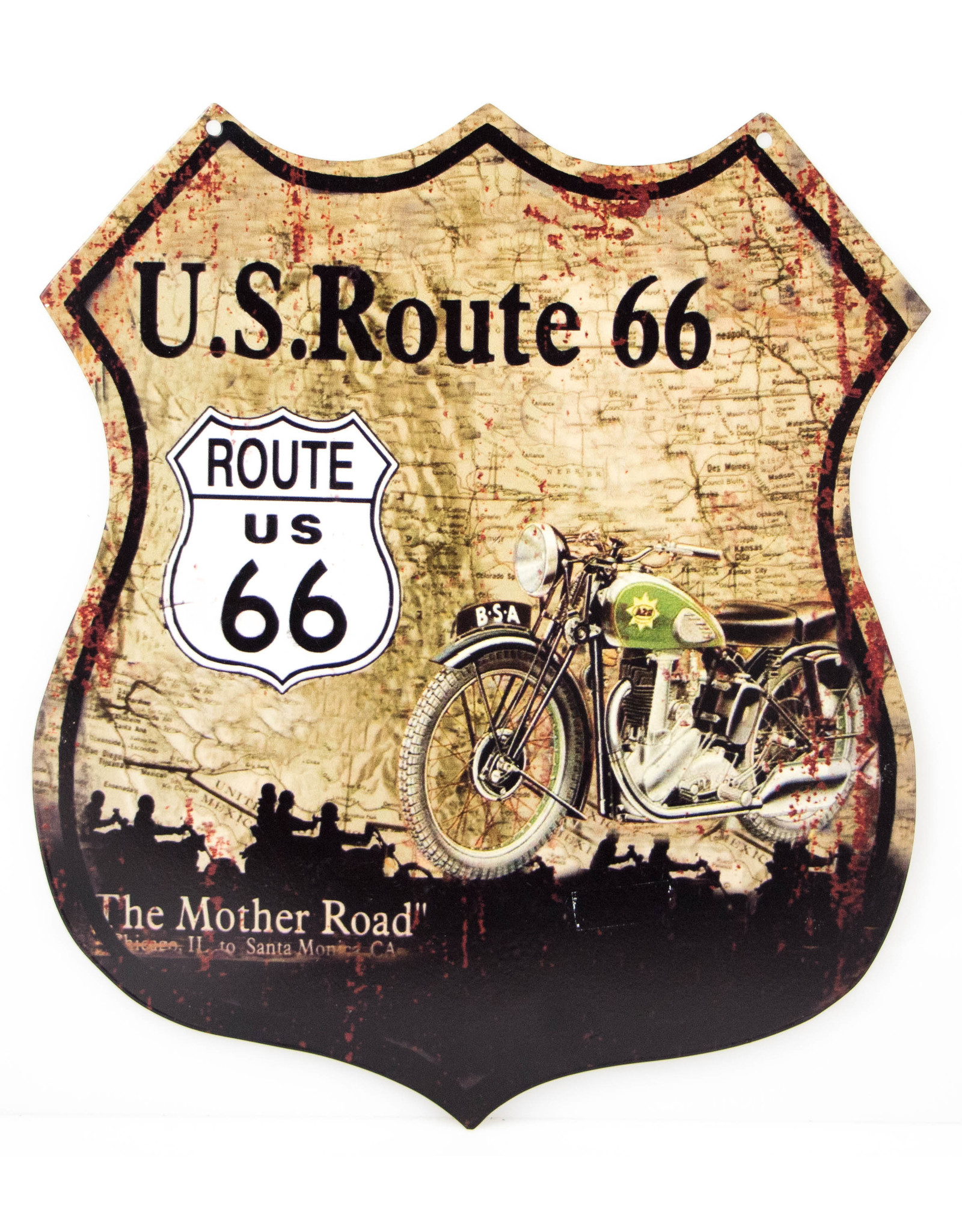 Route 66 Shield with green moto