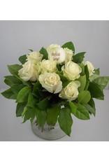 Magic Flowers Boeket 9 rozen - Wit - Proficiat Jarige