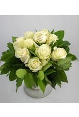 Magic Flowers Boeket 9 rozen - Wit - Proficiat Mama & Papa