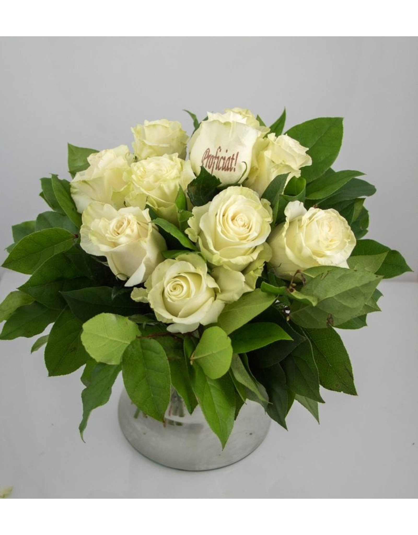 Magic Flowers Boeket 9 rozen - Wit - Proficiat