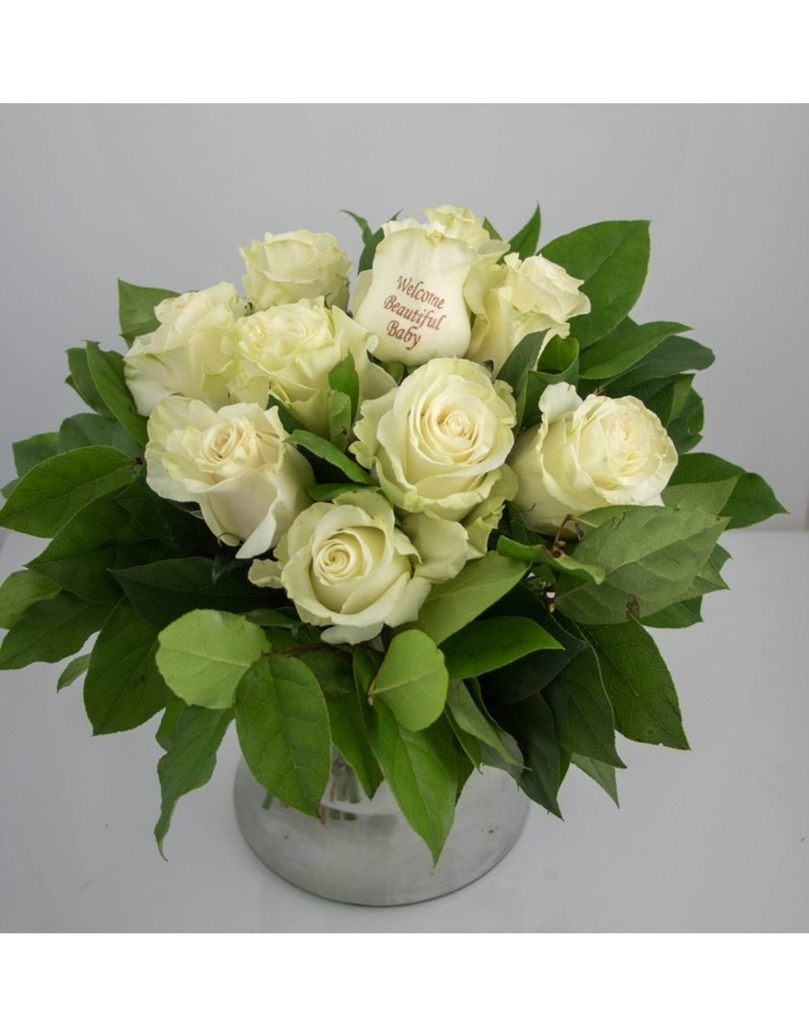 Magic Flowers Boeket 9 rozen - Wit - Welcome Beautiful Baby