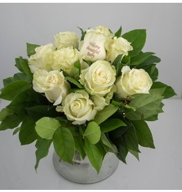 Magic Flowers Boeket 9 rozen - Wit - Welcome Beautiful Baby