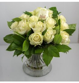 Magic Flowers Boeket 15 rozen - Wit - Proficiat