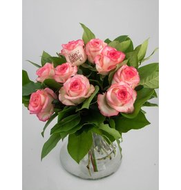 Magic Flowers Boeket 9 rozen - Wit/Roze - Happy Birthday