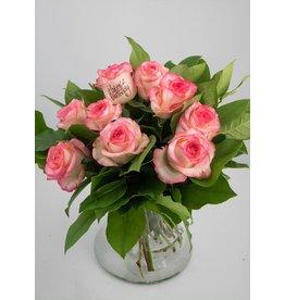 Magic Flowers Boeket 9 rozen - Wit/Roze - Happy Birthday
