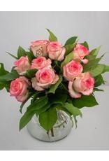 Magic Flowers Boeket 9 rozen - Wit/Roze - It's a Boy