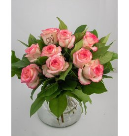 Magic Flowers Boeket 9 rozen - Wit/Roze - It's a Boy