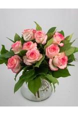 Magic Flowers Boeket 9 rozen - Wit/Roze - Proficiat Mama & Papa