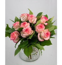 Magic Flowers Boeket 9 rozen - Wit/Roze - Proficiat Mama & Papa