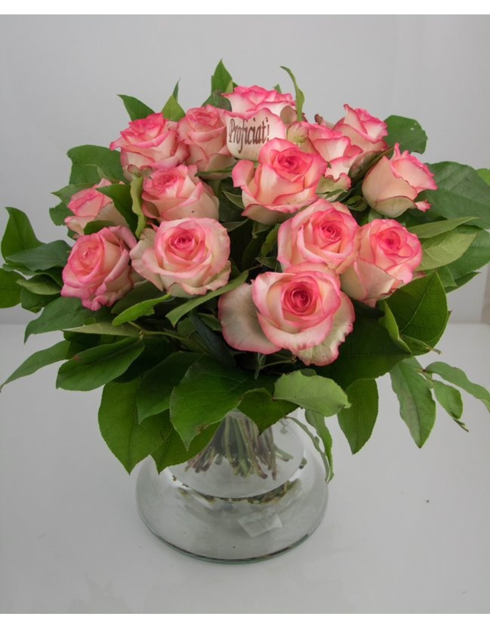 Magic Flowers Boeket 15 rozen - Wit/Roze - Proficiat