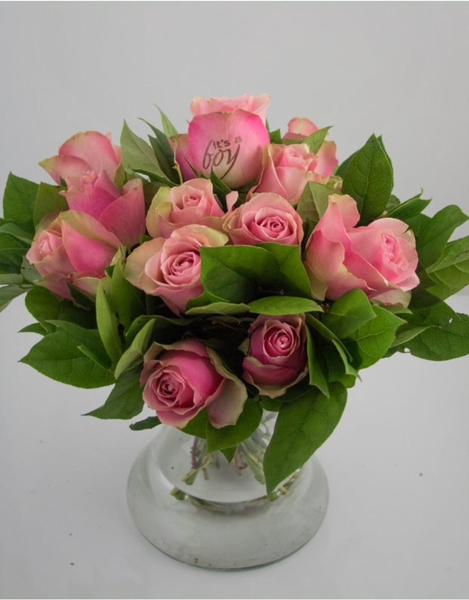 Magic Flowers Boeket 15 rozen - Roze - It's a Boy