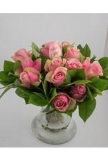 Magic Flowers Boeket 15 rozen - Roze - Proficiat Jarige