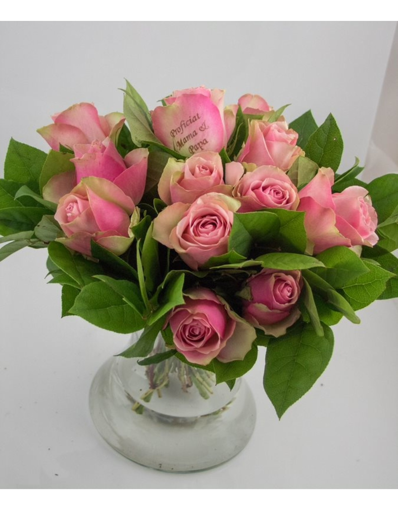 Magic Flowers Boeket 15 rozen - Roze - Proficiat Mama & Papa