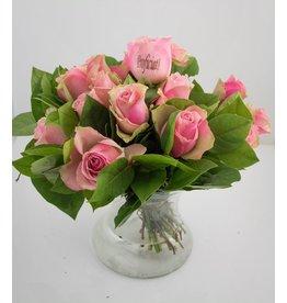 Magic Flowers Boeket 15 rozen - Roze - Proficiat