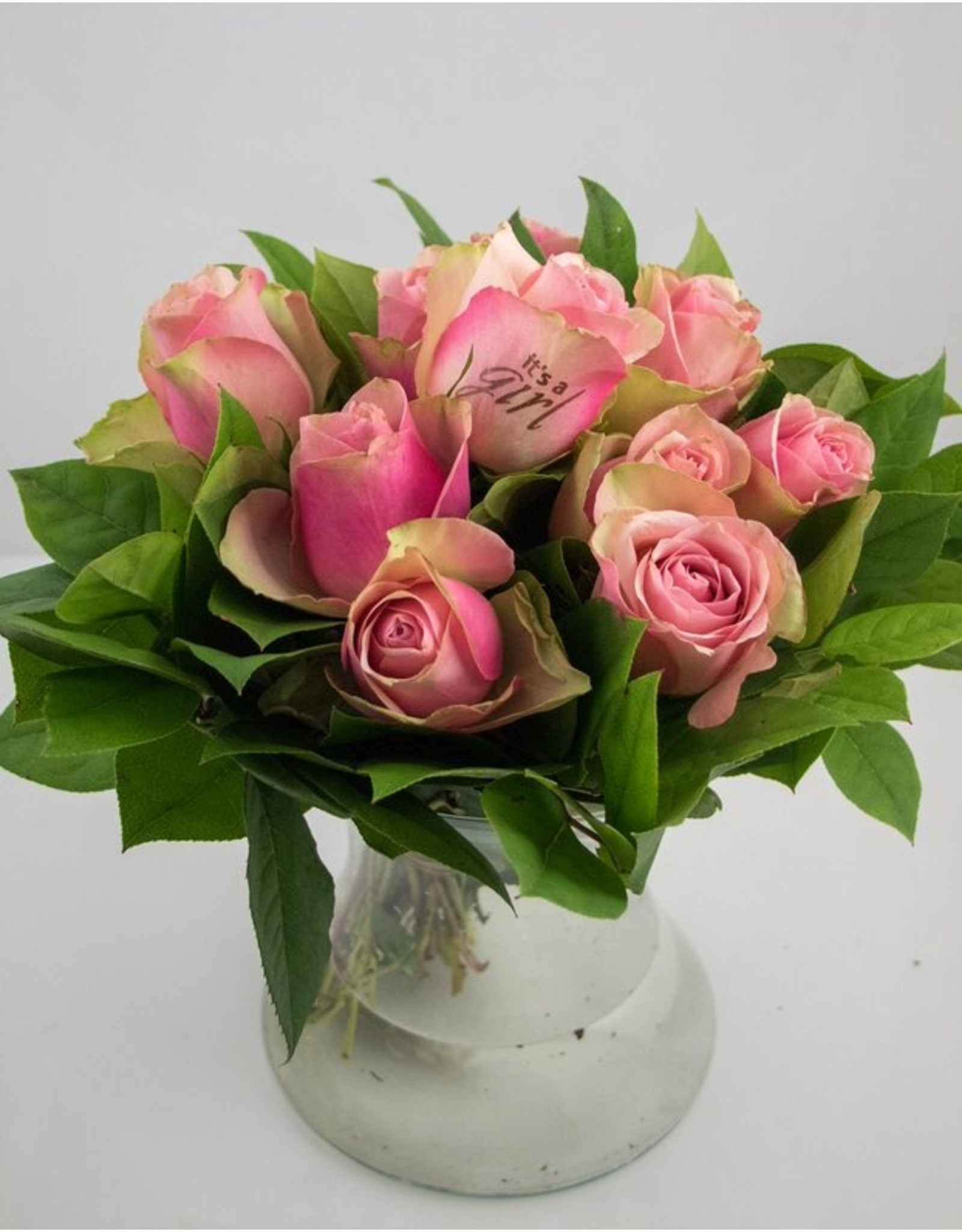 Magic Flowers Boeket 9 rozen - Roze - It's a Girl
