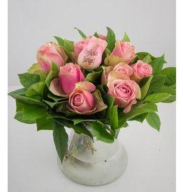 Magic Flowers Boeket 9 rozen - Roze - Proficiat Jarige