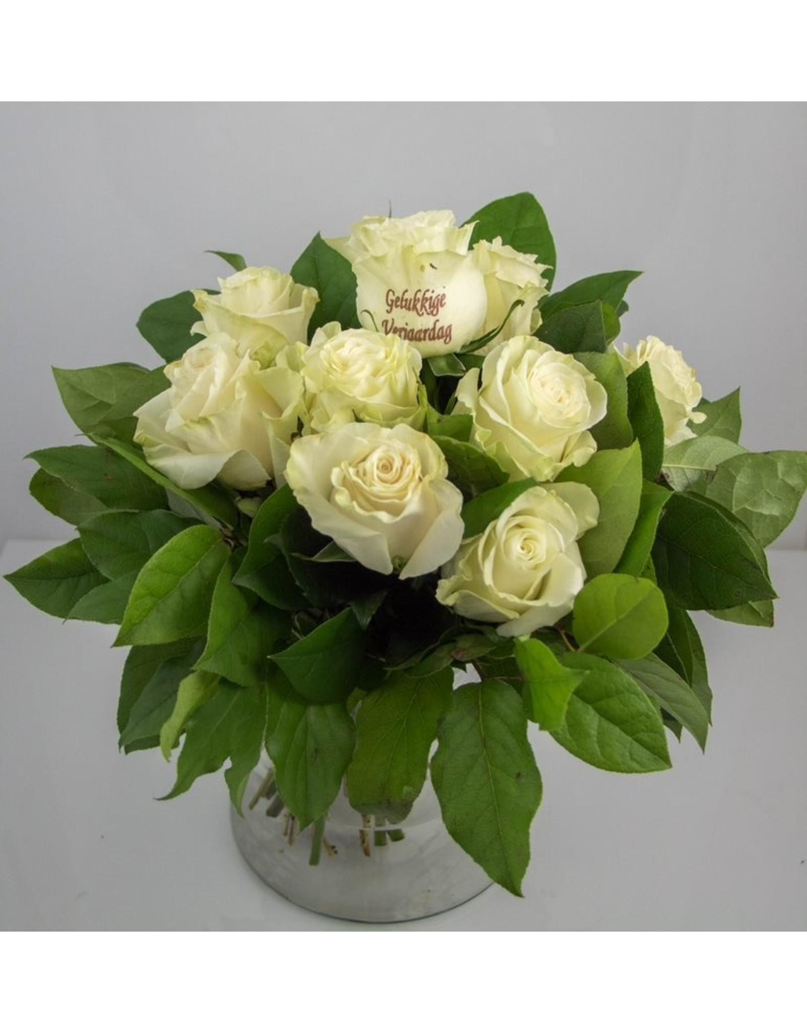 Magic Flowers Boeket 9 rozen - Wit - Gelukkige Verjaardag