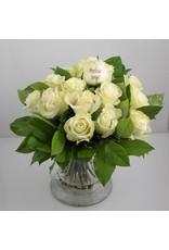 Magic Flowers Boeket 15 rozen - Wit - Proficiat Jarige