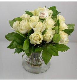 Magic Flowers Boeket 15 rozen - Wit - Speciaal voor jou