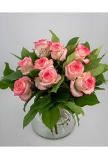 Magic Flowers Boeket 9 rozen - Wit/Roze - It's a Girl