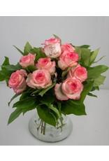 Magic Flowers Boeket 9 rozen - Wit/Roze - Just Married