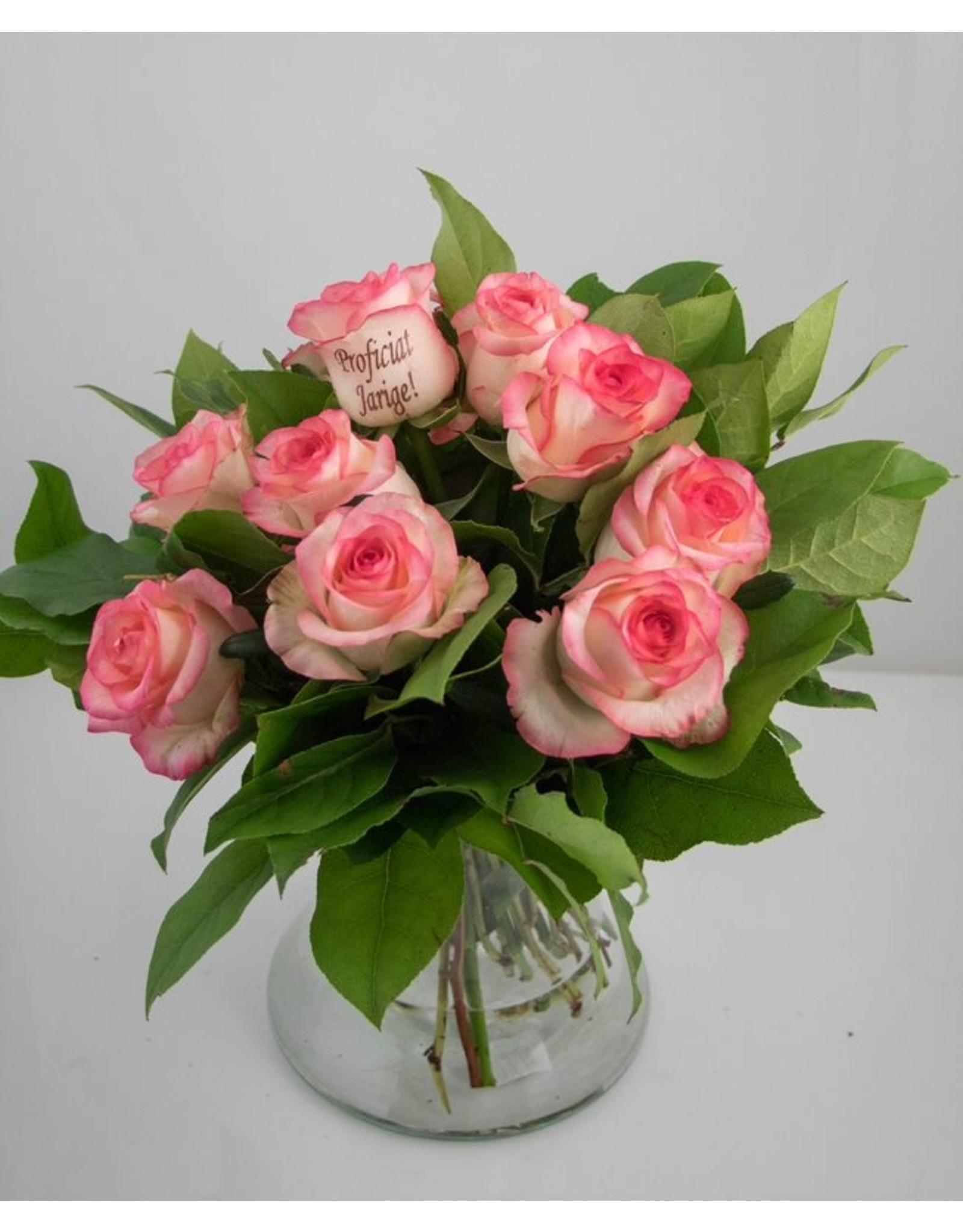 Magic Flowers Boeket 9 rozen - Wit/Roze - Proficiat Jarige