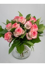 Magic Flowers Boeket 9 rozen - Wit/Roze - Proficiat