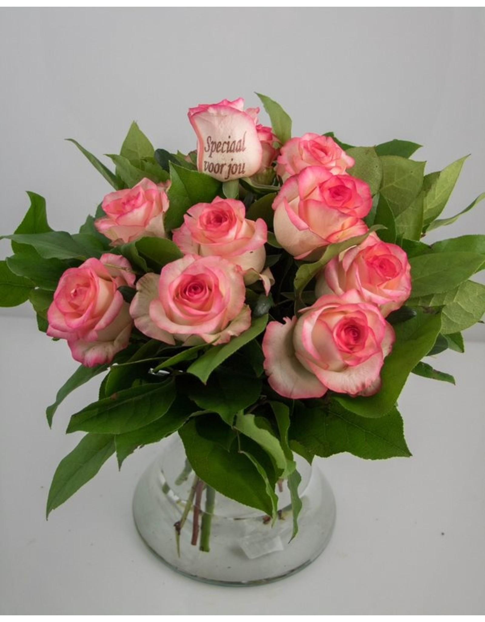 Magic Flowers Boeket 9 rozen - Wit/Roze - Speciaal voor jou
