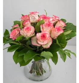 Magic Flowers Boeket 15 rozen - Wit/Roze - Mr&Mrs