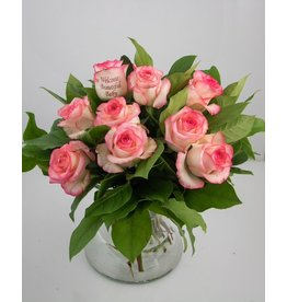 Magic Flowers Boeket 9 rozen - Wit/Roze - Welcome Beautiful Baby