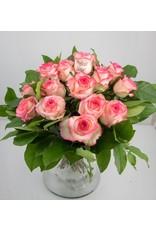 Magic Flowers Boeket 15 rozen - Wit/Roze - Proficiat Jarige