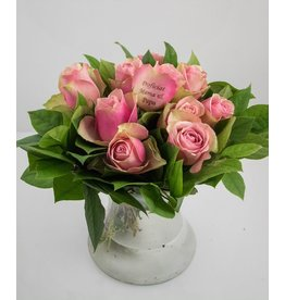 Magic Flowers Boeket 9 rozen - Roze - Proficiat Mama & Papa