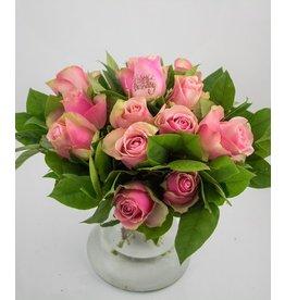 Magic Flowers Boeket 15 rozen - Roze - Happy Birthday