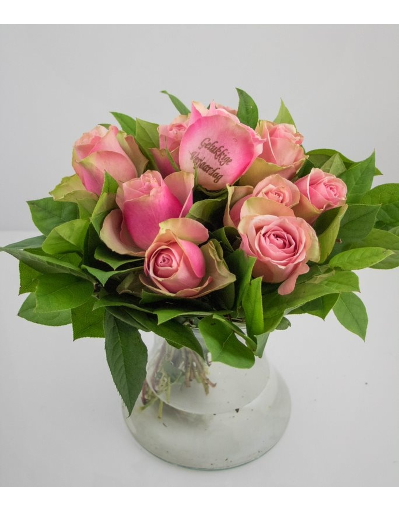 Magic Flowers Boeket 9 rozen - Roze - Gelukkige Verjaardag