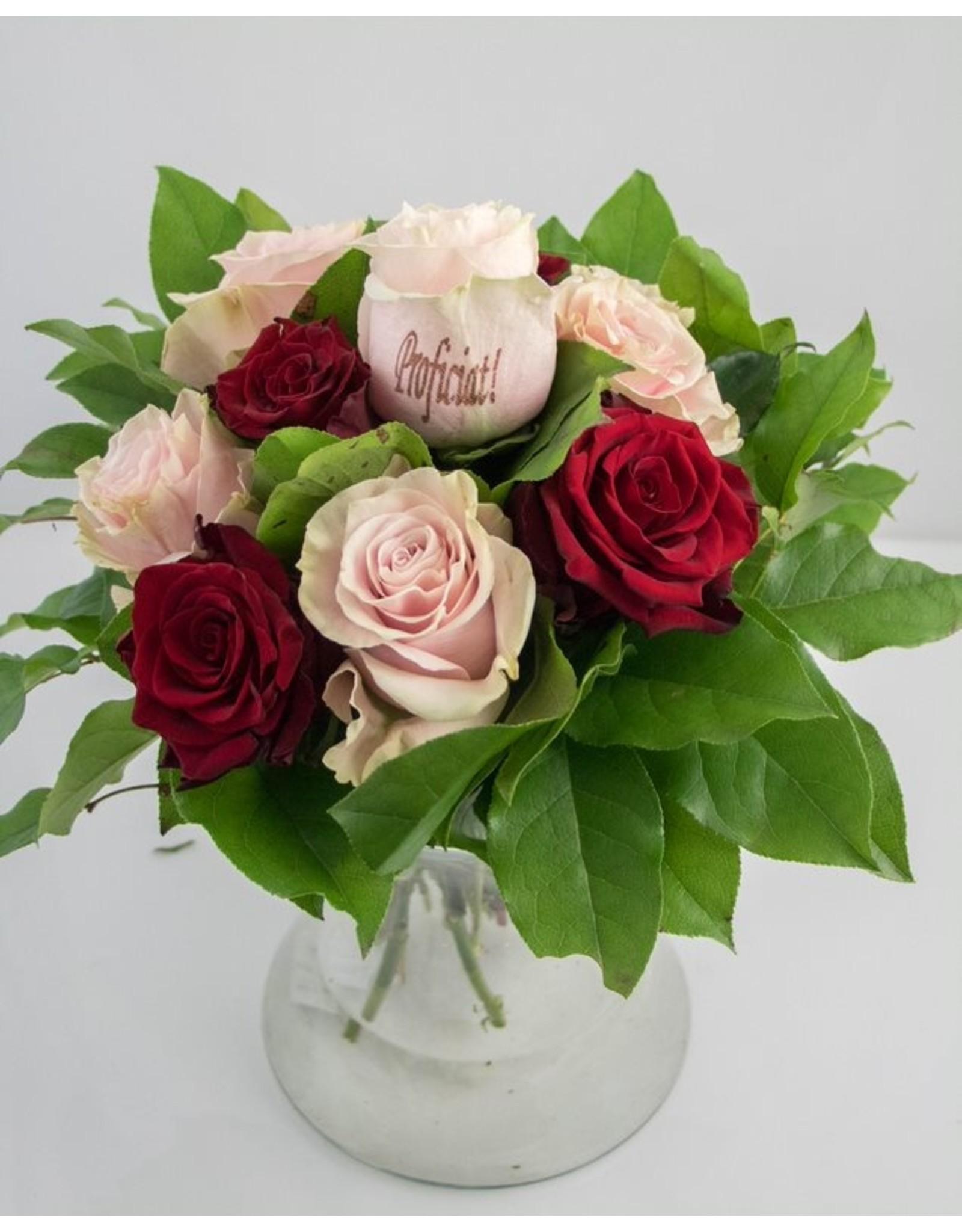 Magic Flowers Boeket 9 rozen - Rood/Roze - Proficiat