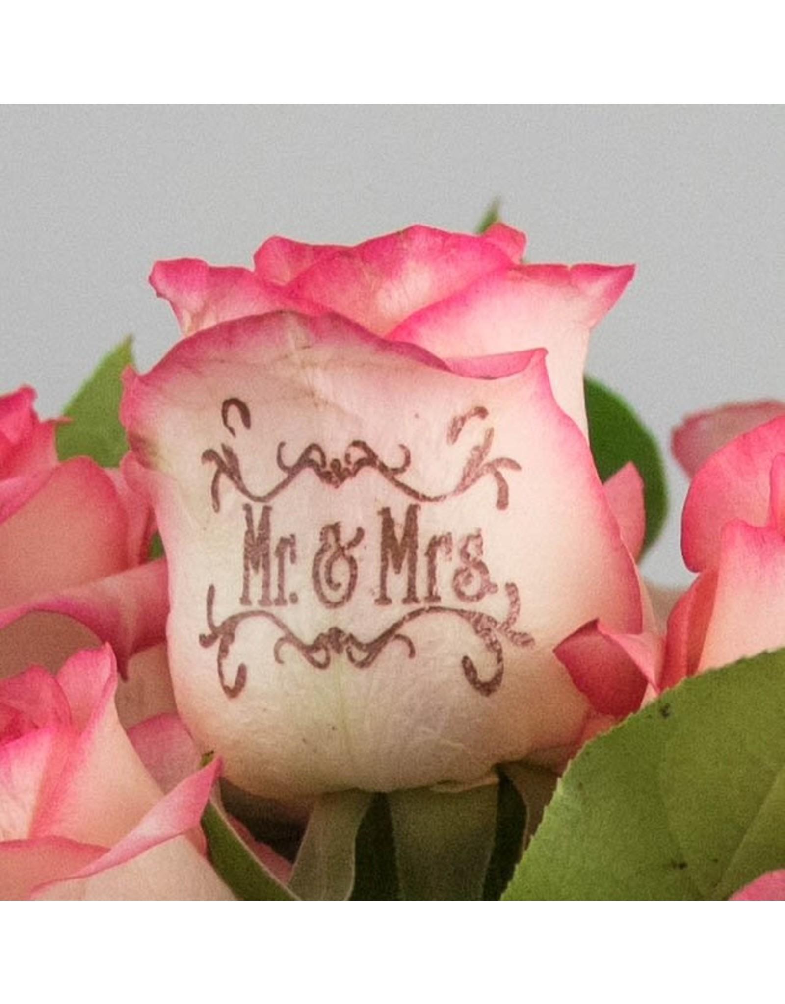 Magic Flowers Boeket 9 rozen - Wit/Roze - Mr&Mrs