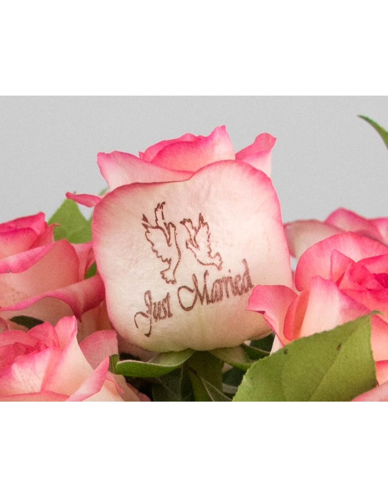 Magic Flowers Boeket 15 rozen - Wit/Roze - Just Married