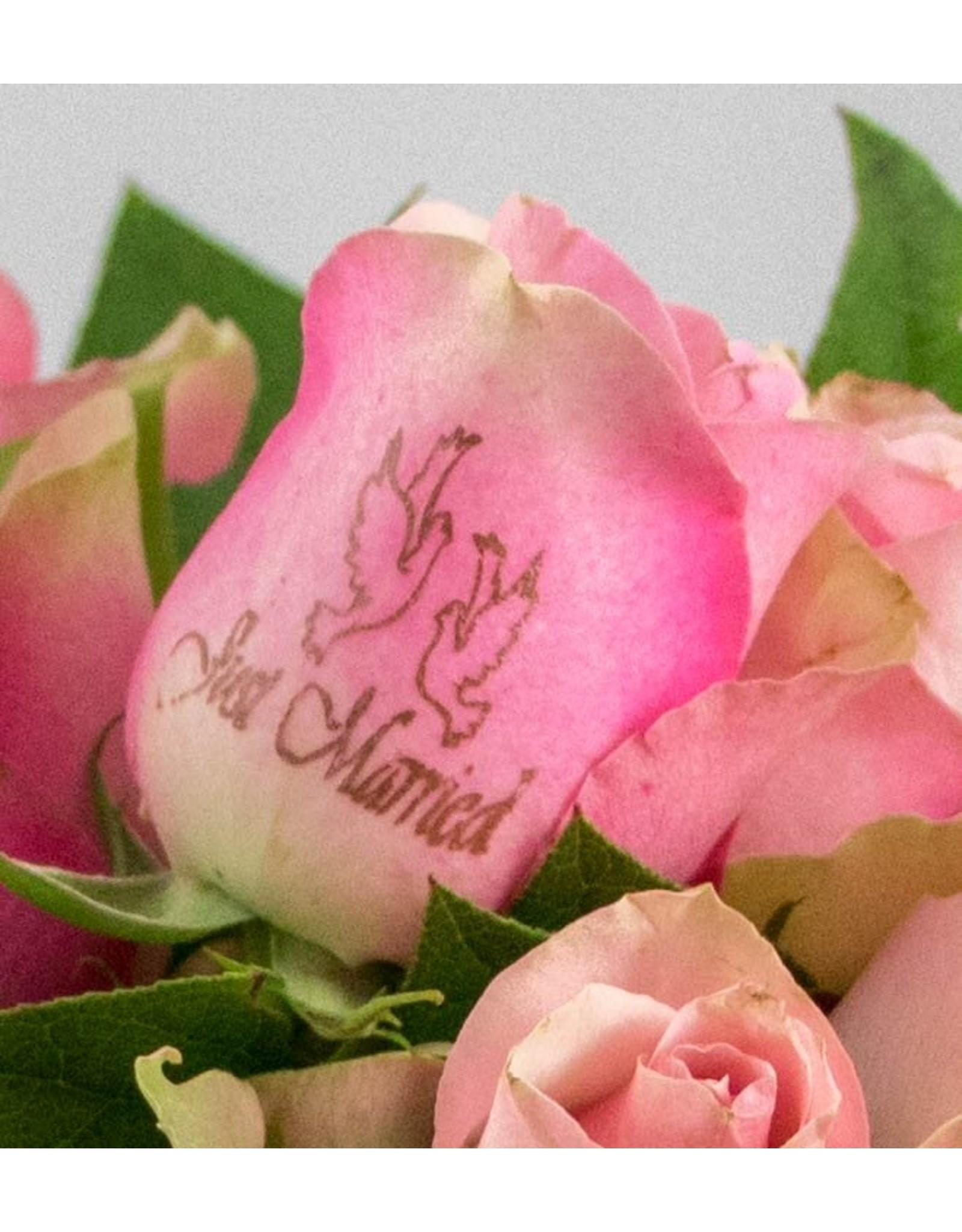 Magic Flowers Boeket 15 rozen - Roze - Just Married