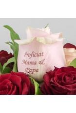Magic Flowers Boeket 9 rozen - Rood/Roze - Proficiat Mama & Papa