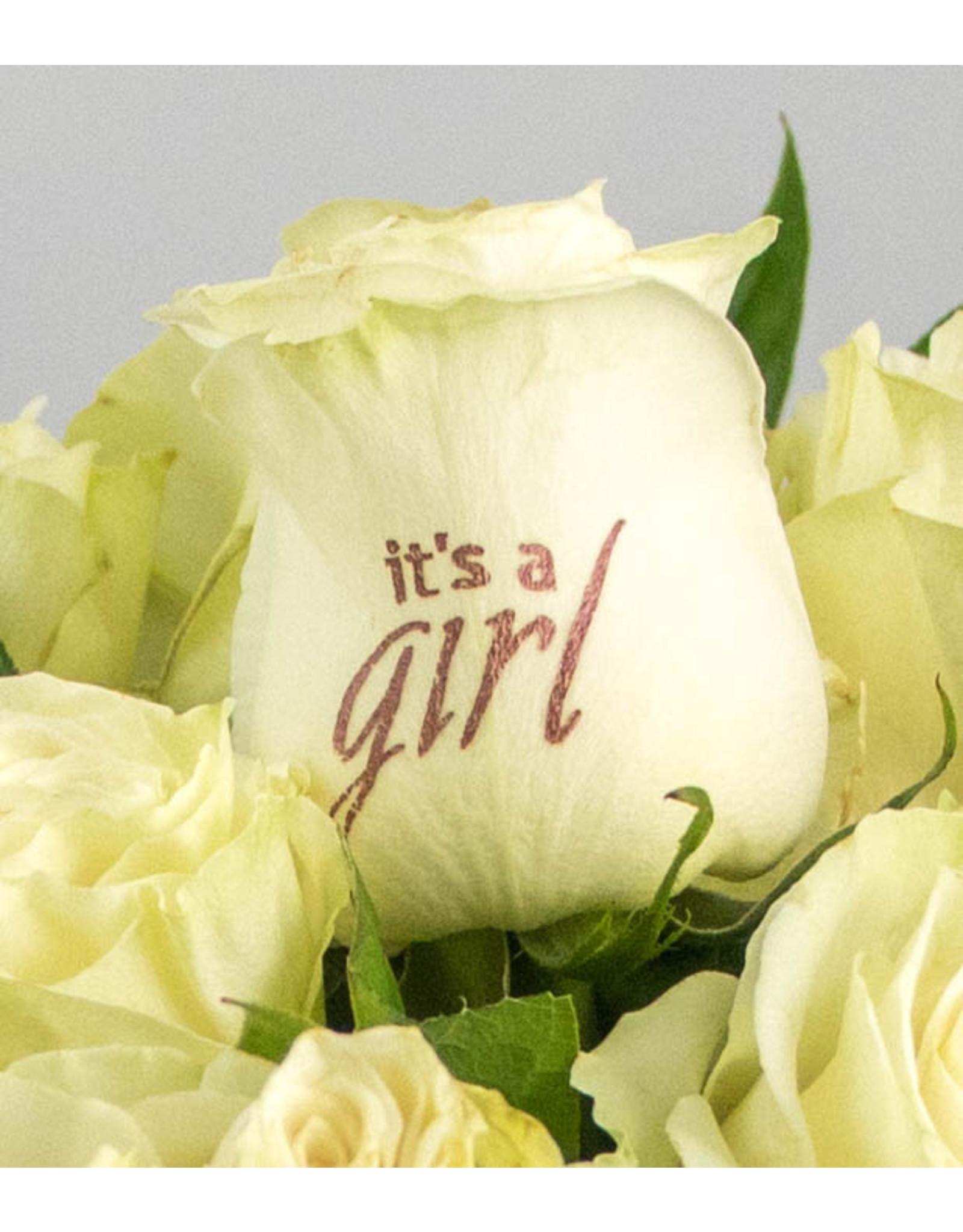 Magic Flowers Boeket 9 rozen - Wit - It's a Girl