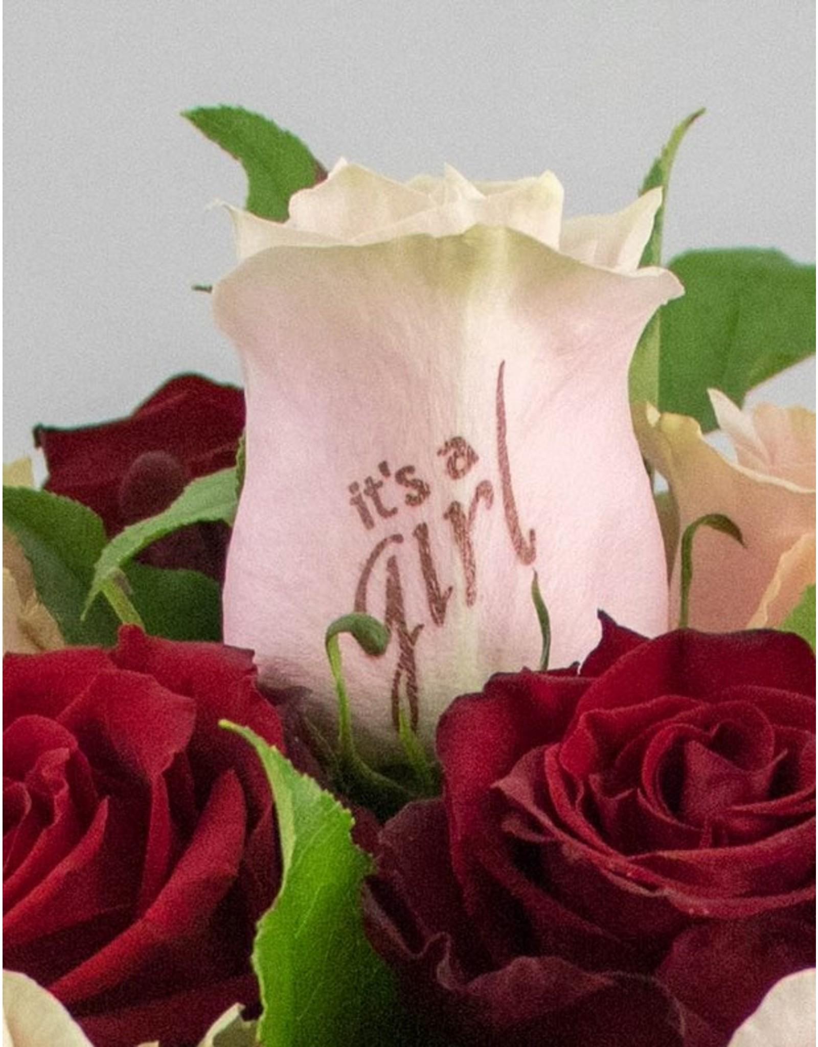 Magic Flowers Boeket 9 rozen - Rood/Roze - It's a Girl